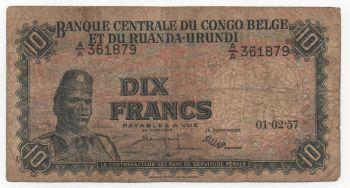 BELGIUM CONGO 10 FRANCS 01-8-1956 P30 VFplus.