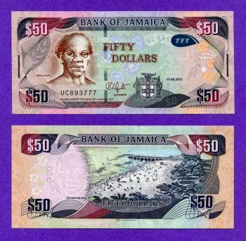JAMAICA 50 DOLLARS 2013 HYBRID PAPER UNC