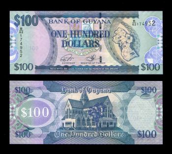 GUYANA 100 DOLLARS ND 2016 P36 NEW SIGN UNC