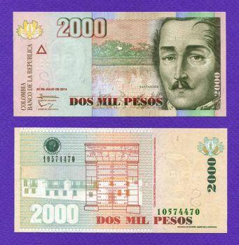 COLOMBIA 2000 Pesos 2014 UNC