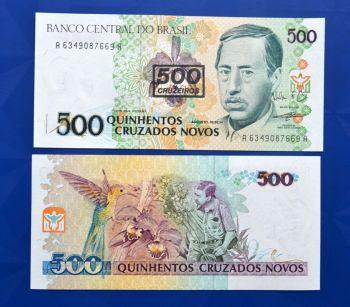 BRAZIL 500 CRUZEIROS ON 500 CRUZADOS NOVOS ND (1990) P-226b UNC