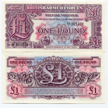 BRITISH ARMED FORCES ONE POUND NOTE - SPECIAL MILITARY VOUCHER - 2ND SERIES 1948