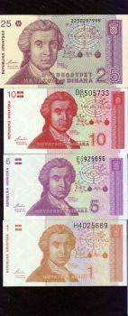 Croatia 1991 * 1/5/10/25 Dinars * Banknote set UNC