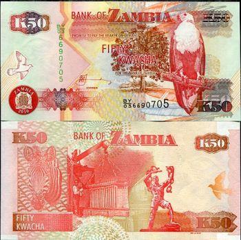 ZAMBIA 50 KWACHA 2010 P 37 UNC