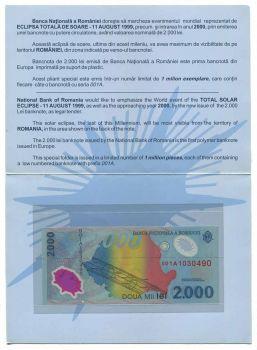 ROMANIA ΕΠΙΣΗΜΟ FOLDER 2000 LEI 1999 POLYMER P 111 UNC