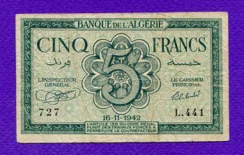 ALGERIA WW2 5 FRANCS 16-11-1942
