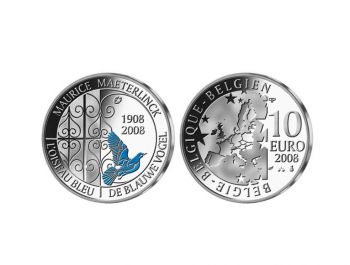 Belgium 2008 10€ Maurice Maeterlinck Silver Proof