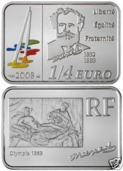 2008 France 1/4 Euro Silver BU Coin Edouard Manet