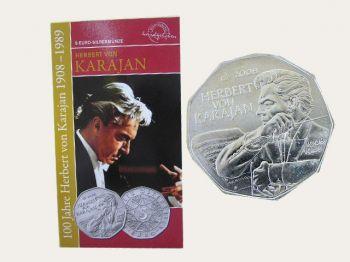 Austria - 5 Euro Silver BU, Herbert von Karajan, 2008