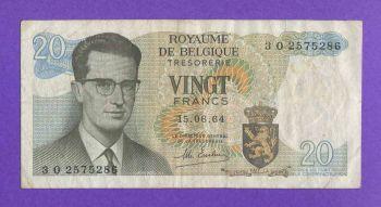 ΒΕΛΓΙΟ 20 FRANCS 1964 VF