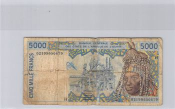 NIGER (NOT NIGERIA) WEST AFRICAN STATES 5.000 FRANCS 1982 UNC