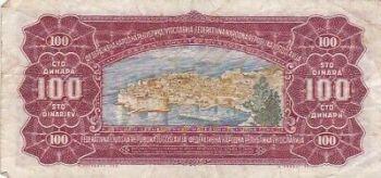 YUGOSLAVIA SHS 100 DINARA 1934 AUNC
