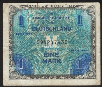 GERMANY  1 REICSHMARK  με την σβάστικα (!) 1944  UNC