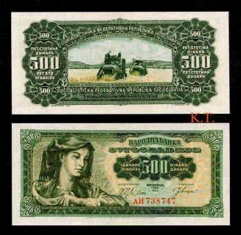 YUGOSLAVIA 500 DINARA 1963 P-74 UNC