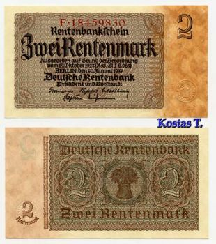 GERMANY 2 REICHMARK 1937 P 174 UNC