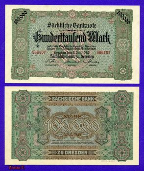 Germany Dresden  100.000 marks 1923 AUNC