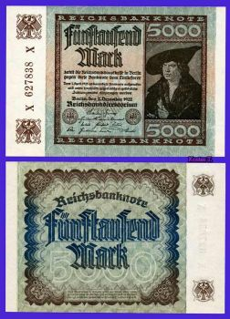 GERMANY 5.000 MARK, 2 Δεκεμβρίου 1922 AU-UNC
