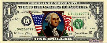 Έγχρωμο Χαρτονόμισμα 1 δολαρίου USA