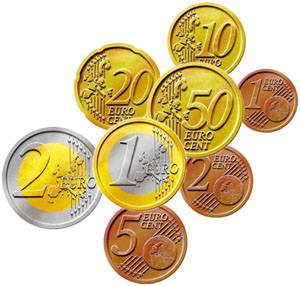 The 8 denominations of the euro coins